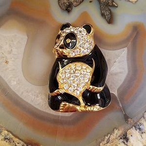Vintage Trifari Rhinestone Panda bear Pin GUC